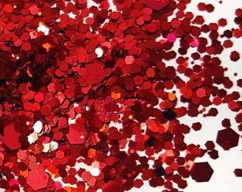 """Glitter Mix """"Red Velvet"""", Nail Art Glitter, Loose Glitter, Chunky Glitter, Nail Glitter, Red Glitter"""
