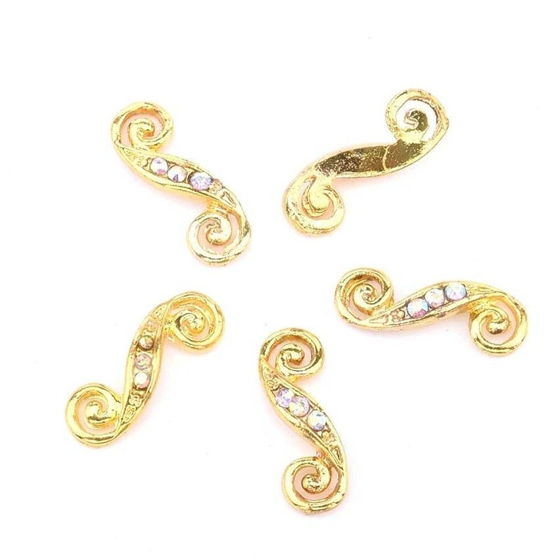 4pc AB Crystal Gold S Shaped Nail Charm Nail Jewelry Nail image 0
