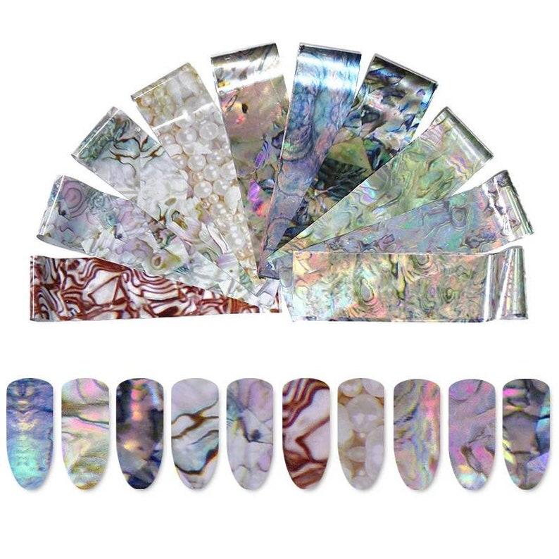 10Pcs Marble Transfer Foil Nail Art Nail Foil Nail Decoration image 0