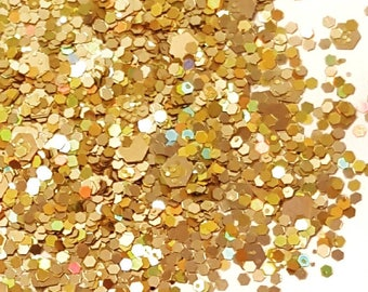 """Glitter Mix """"Gold Crush"""", Nail Art Glitter, Gold Glitter, Loose Glitter, Chunky Glitter, Nail Glitter"""