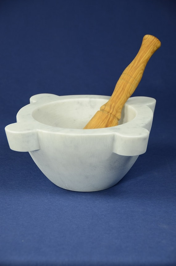 Mortar In White Carrara Marble Diameter 22 Cm With Pestle