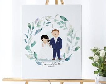 custom wedding illustrated portrait for guestbook or entrance, cartoon style illustration for wedding, wedding illustration