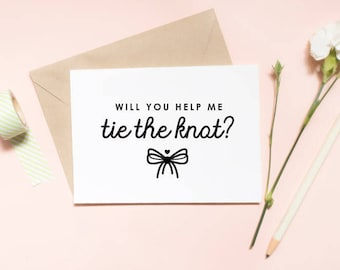 Will you help me tie the knot bridesmaid proposal card, wedding card, will you be my bridesmaid card / SKU: LNBM02
