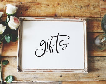 gifts sign, cards and gifts wedding sign, cards sign, gifts sign, wedding sign, reception sign style02 / SKU: LNWS14B