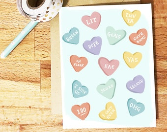 Conversation hearts card, bae, will you be my bridesmaid, girlfriend, best friend, proposal card / SKU:LNBM16