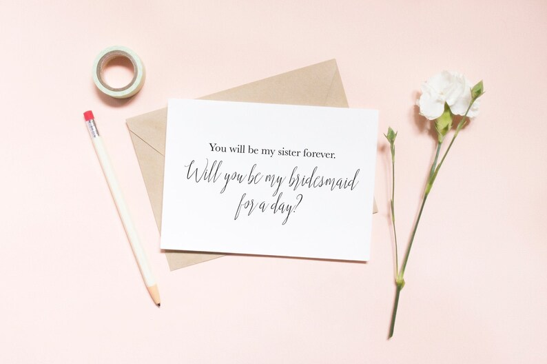 Be my bridesmaid for a day? Proposal card bridal party proposal  SKU: LNBM46 bridesmaid proposal You will be my sister forever