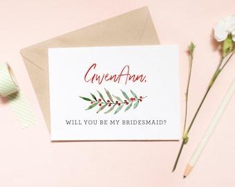 Customized Will You Be My Bridesmaid Card, Maid of honor proposal card, christmas proposal, christmas wedding / SKU: LNBM23