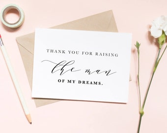 Thank you for raising the man of my dreams card, in laws card, thank you card, wedding day card / SKU: LNWD28