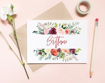 Customized Will You Be My Bridesmaid Card, Maid of honor proposal card, Floral card, watercolor floral, floral frame / SKU: LNBM20