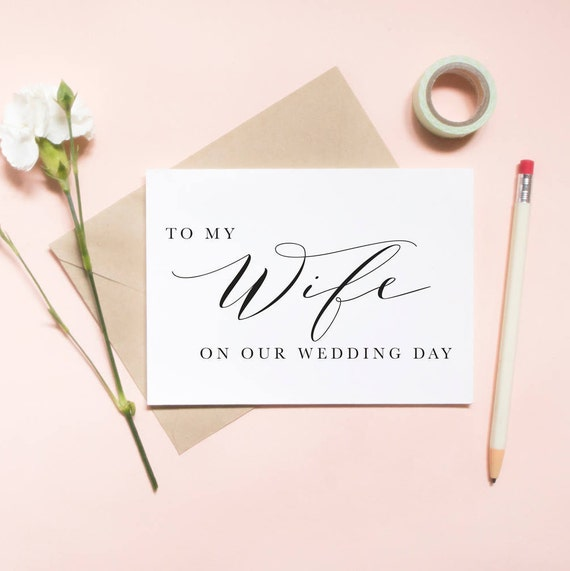 to my wife on our wedding day card to my wifey on our wedding etsy