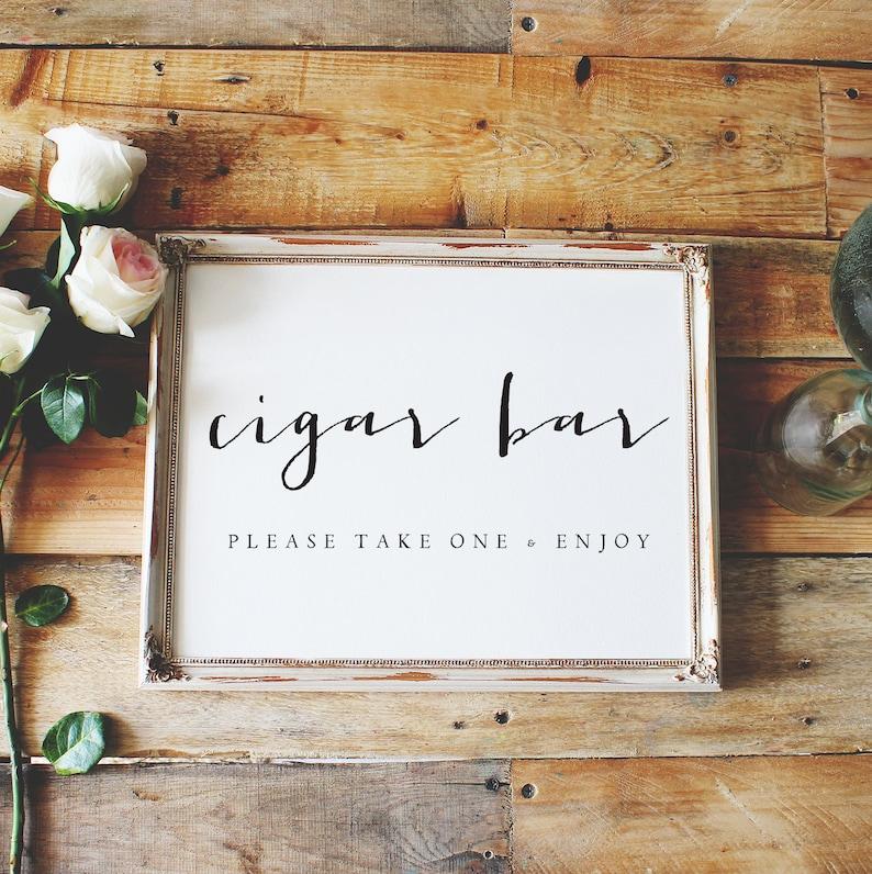 wedding sign please take one sign favor sign cigar bar sign cigar sign reception sign style01  SKU: LNWS24