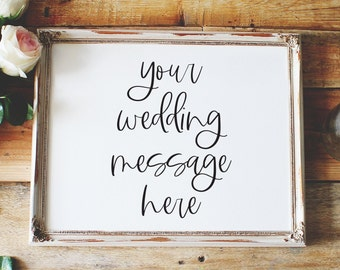 customize your own message, custom wedding sign, horizontal wedding sign, reception sign style01 / SKU: LNWS41D