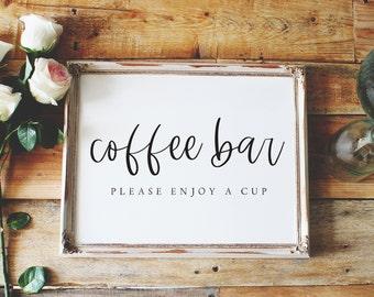 coffee bar sign, please enjoy a cup sign, coffee bar sign please enjoy a cup sign, wedding sign, reception sign style02 / SKU: LNWS15B
