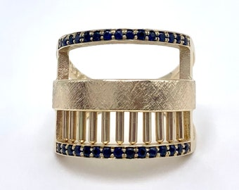 Gold and Sapphire Geordi Ring