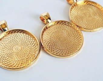 Stainless steel bezel cup for pendant Gold plated DIY Jewelry Craft Blank Bezel Tray 10 pcsSet