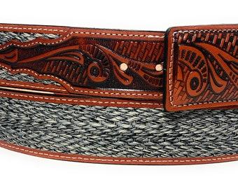 Mens Western Cowboy Belt Grain Leather Silver Buckle Black Cinto Rancho