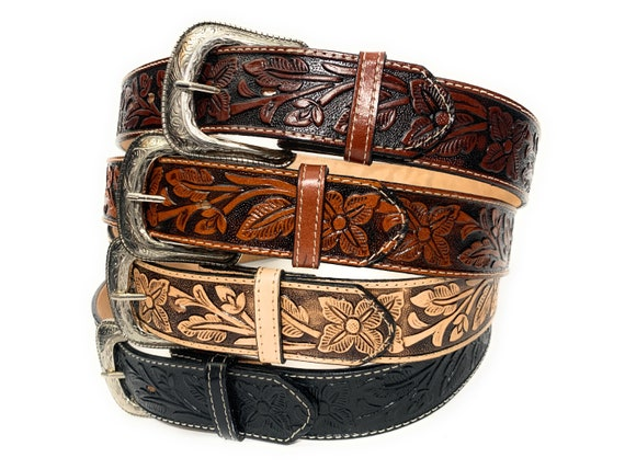 MEN/'S WESTERN LEATHER BELT COWBOY RODEO CASUAL LEATHER BELT FLORAL EMBOSSED