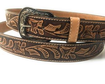 Mens western belt . Vaquero leather belt . Cowboy belt.