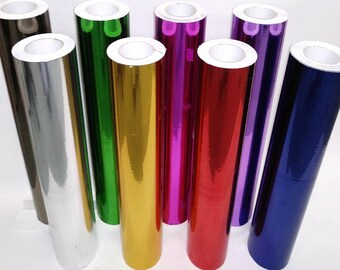 8 rolls of 12 x 5 feet ea Chrome Mirror Self adhesive vinyl Metallic your choice of 8 colors Most Popular 8 colors available