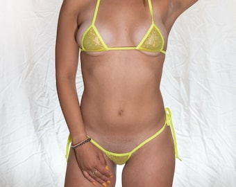 6ab1847e4c7e3 Mini Micro Bikini w/ side tie G string yellow shattered glass mesh yellow  trim