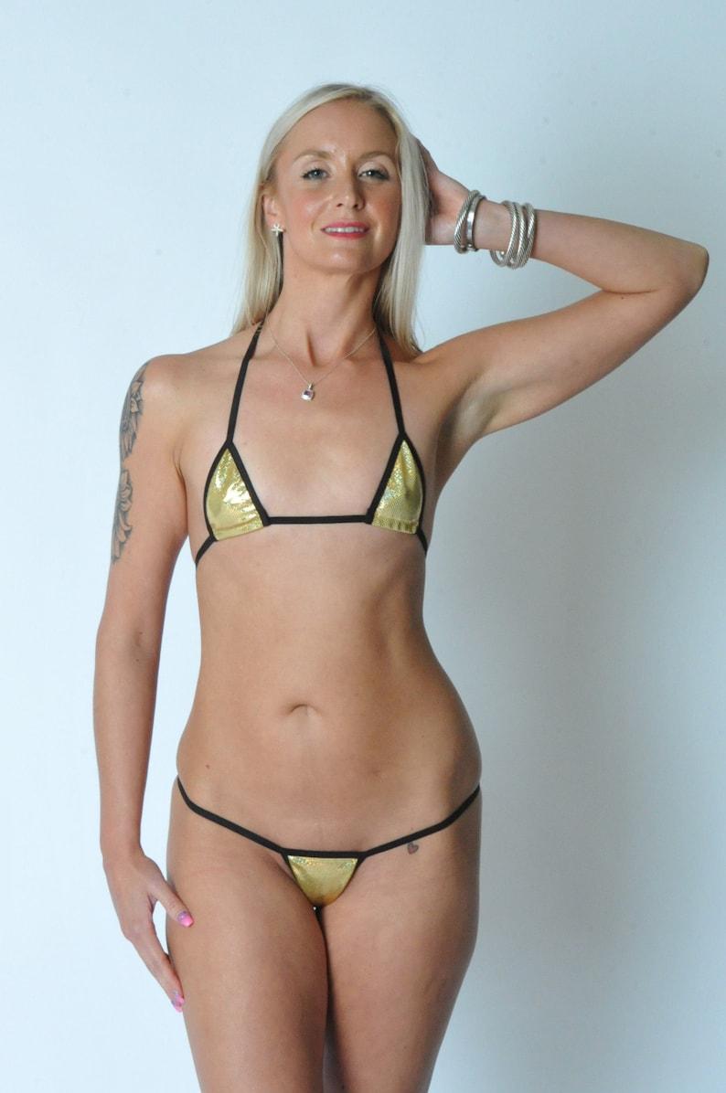 f03fe63d1e Holographic Mini Micro 2pc g-string bikini Gold holographic