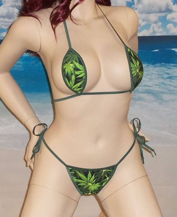 2pc Micro Bikini w// side tie G string pot leaf print made in USA S//M