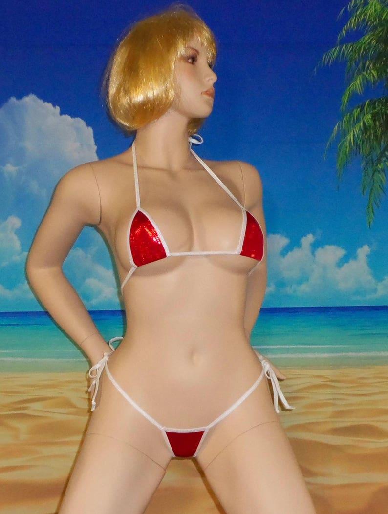 String Bikini Holographic Sm Wmini G Red Side Micro Tie Top FKJlT1c