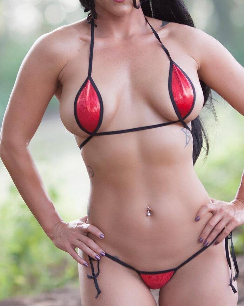 d0eff82139 Sexy Micro Teardrop Bikini w  side tie thong-RED
