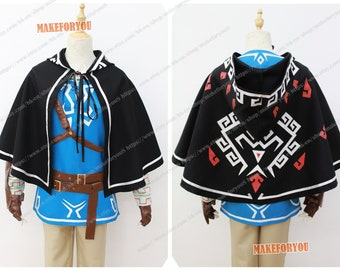 a8e196b86d Unisex s Legend of Zelda Breath of the Wild Link Cosplay Costume only cape  hood