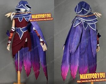 Xayah el rebelde Cosplay todo traje púrpura de unisex 09e0226bd638