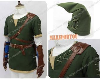 Men's legend of zelda twilight princess link cosplay costume green