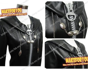 Men's Organization Xiii cosplay costume large zipper cloak with chain