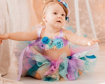 Mermaid Outfit set on cake smash mermaid floral top tulle set with tutu skirt for girl girl's mermaid Birthday outfit Sale