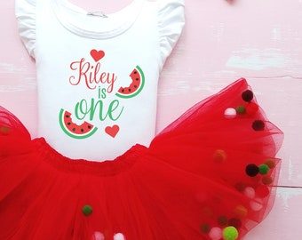 Personalised t-shirt with tutu custom Name 1st Birthday tulle, One in a melon birthday bodysuit and tutu skirt Personalized first cake smash
