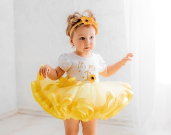 Sunflower First Birthday Outfit, Baby Girl First Birthday Outfit, Sunflower Outfit, Baby Girl Outfit Set, Yellow Outfit Tutu Set