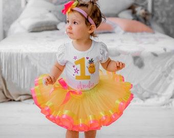 Pineapple 1st Birthday Outfit, Orange Dress Sweet One Birthday Tulle, Girls Luau Party Tulle , first cake smash dress orange tutu set