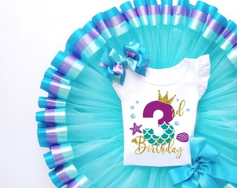 Personalized outfit for girld 3rd birthday tulle blue under the sea theme third cake smash niece or granddaughter gift idea aesthetic girls