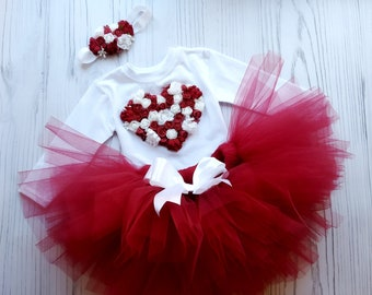 d496a8c71 Burgundy Tutu Outfit For First Birthday, Burgundy Flowers tutu dress for  girls, Flowers Birthday Outfit