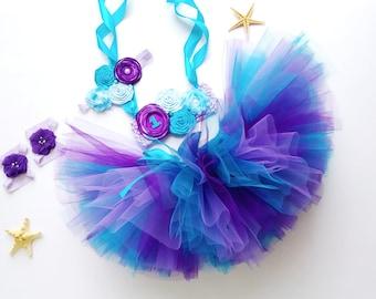 Personalized baby tutu set Cartoon Theme Birthday tulle blue purple dress for toddler or infant Cake smash custom age tutu