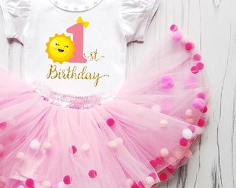 1st Birthday Pompom Tulle Sun Print Personalized First Cake Smash Pom pom Dress Cute Pink Tutu with Pompoms