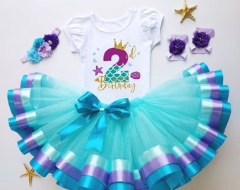 Under the sea 2nd Birthday Outfit Baby Girl Second Cake smash dress Custom mermaid Blue Tutu with tshirt personalized set granddaughter gift