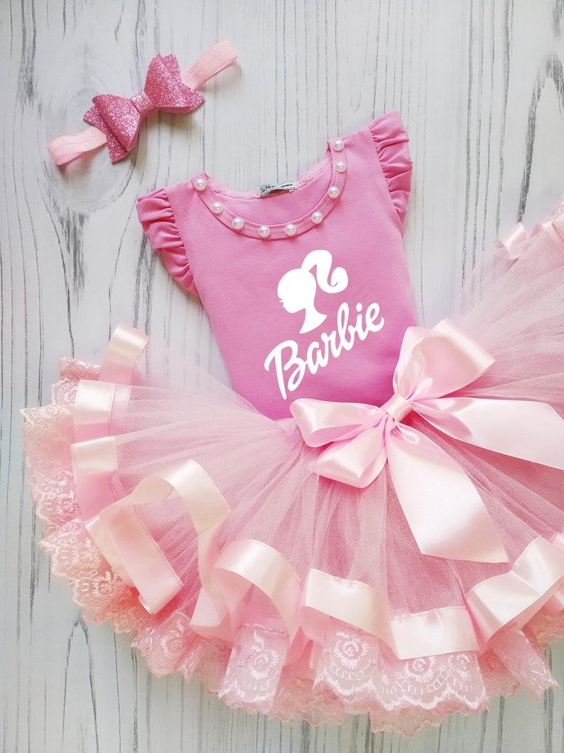 5th Birthday Barbie Tutu Set Pink Barbie Costume Barbie Birthday Tutu Outfit