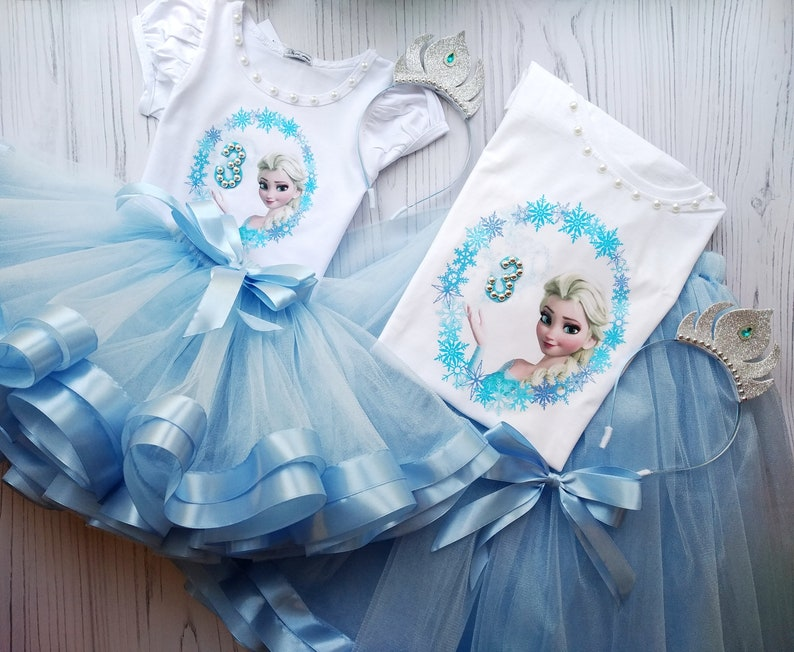 Frozen Princess Elsa Tutu Outfit Elsa Family Look Mommy and Me Outfit Matching Frozen Tutu
