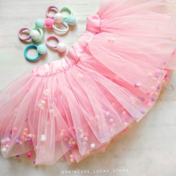 827c3205b Infant pom pom skirt Pink Pom Pom Tutu skirt tutus for girls | Etsy