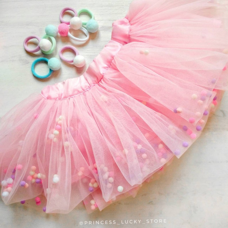 54f5d427ca Infant pom pom skirt Pink Pom Pom Tutu skirt tutus for girls | Etsy