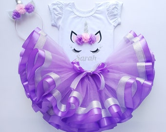 Purple unicorn tulle silver personalized dress for baby girl Birthday gift idea lavender theme tutu set Sale Aesthetic tulle for niece gift
