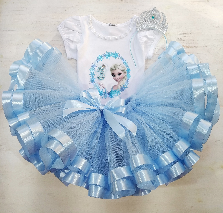 Pale Blue Ballet Dance Fancy Dress Costume Standard Tutu Halloween Outfit Frozen