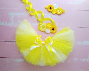 Sale Sunflower outfit yellow tulle for girls birthday dress sunflowers theme on cake smash for toddler girl present
