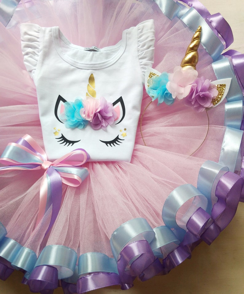 699ff6ef475ff Unicorn Tutu Outfit For 1st Birthday Pink Tutu Outfit For | Etsy