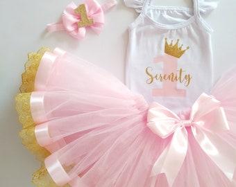 Princess dress, Crown print, Tutu set for baby girl, 1st Birthday tulle, light pink toddler dress, Baby princess outfit, Birthday dress